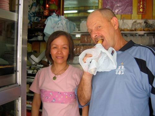 Dave with woman who ran his favourite bakery in Kowloon City Hong Kong