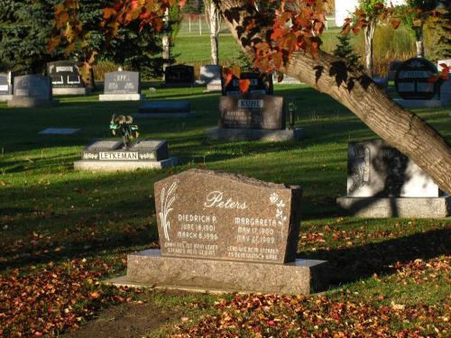 Photo of my grandparents tombstone by my cousin Al Loeppky