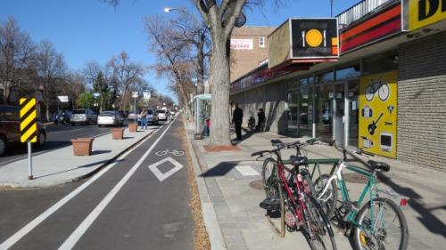 bike lane on sherbrook street in winnipeg