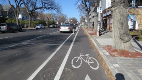 bike lane on sherbrook in winnipeg
