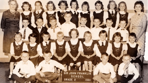 Grade Two Class Sir John Franklin School - 1960-1961 school year- Teacher Miss Ushay- I'm on the far left in the back row right beside the principal