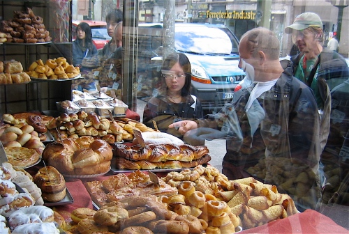 Bakery window photographed in Madrid