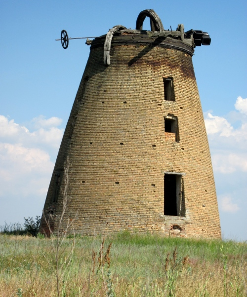 We drove by this abandoned windmill in 2011 in Ukraine. It was built by Mennonites.