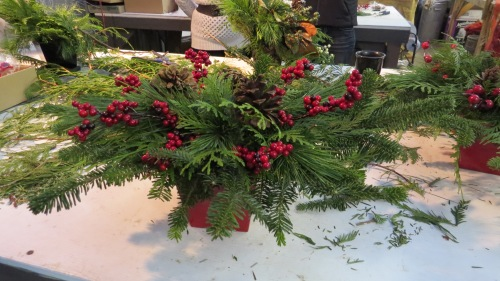 step five making a Christmas centerpiece