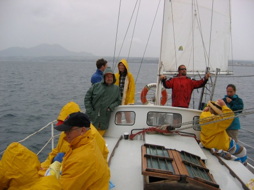 sailing in the rain on lake taupo