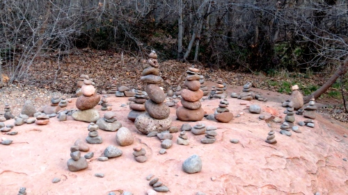 stone cairns cathedral rock