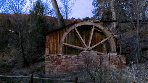 water wheel on cathedral rock hike