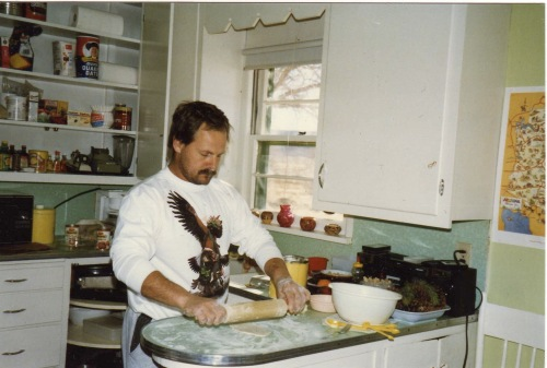 Dave making tortillas in our home on the Hopi Indian Reservation in 1990