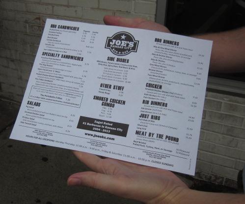 joe's menu