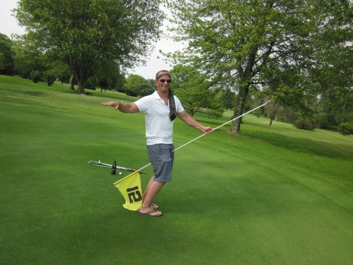 riding the golf flag