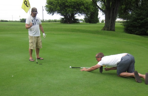 pool shot on golf green