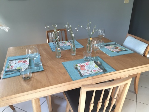 flowery table setting