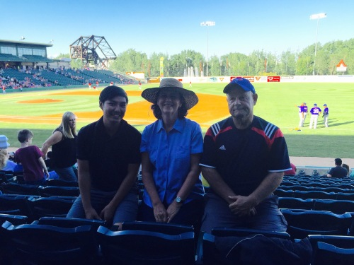 We took Ivan to a Winnipeg Goldeyes game. Ivan is a great baseball player.