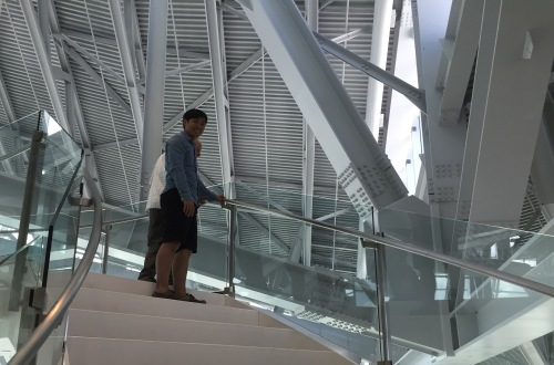 Dave and Ivan climbing the steps to the top of the Human Rights Museum