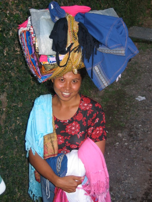 Woman selling clothing in Bali