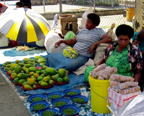 fruit and vegetable farmers selling their wares in fiji