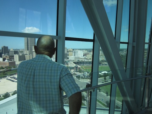looking out over the city from the human rights museum