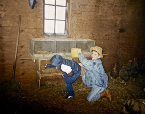 sons gathering eggs grandparents barn