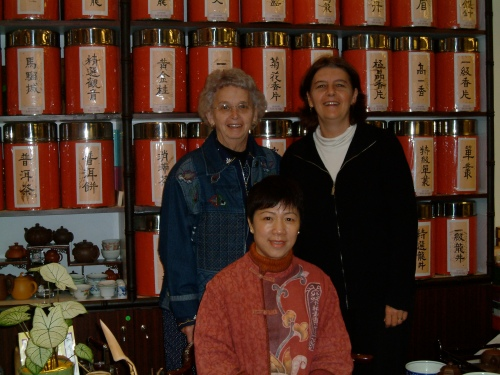 At a tea ceremony in Hong Kong with my Mom