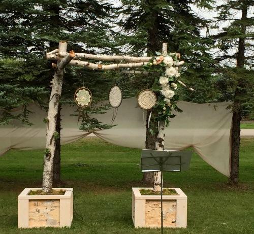 wedding bower from birchbark