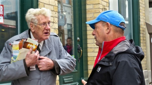dave talks to man on the quebec city street