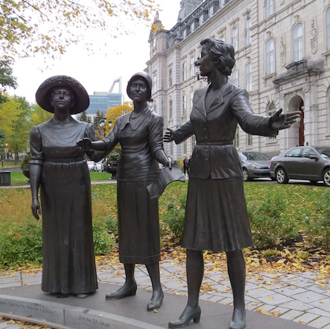 A trio of Quebec suffragettes who fought for 22 years to get women the right to vote in their province.