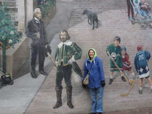 champlain on mural in quebec city