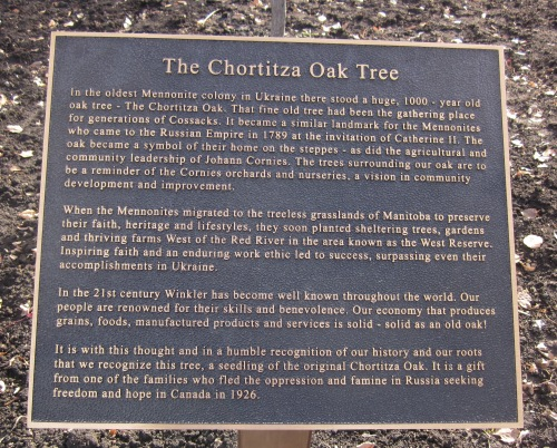 plaque Chortitza Oak Winkler