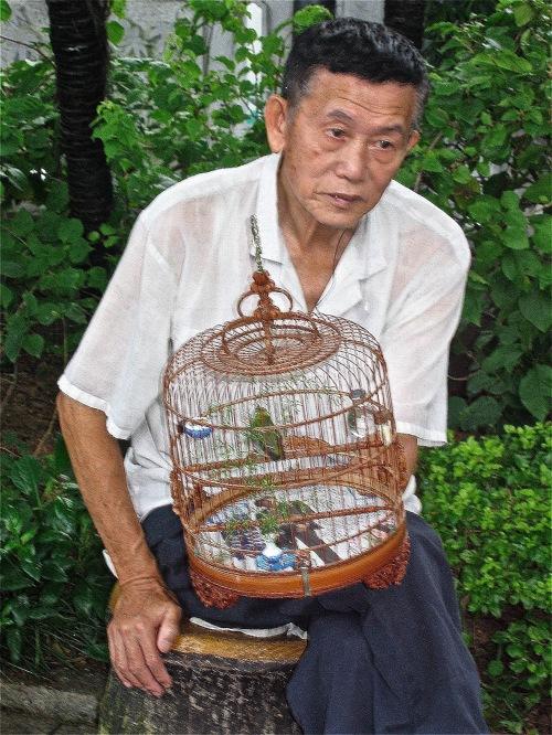 Photographed in the Bird Garden in Hong Kong
