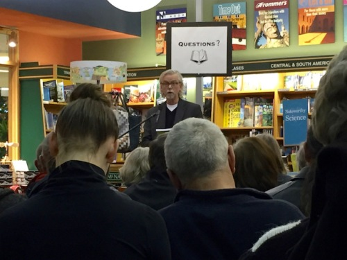 roger reads from his book at mcnally launch