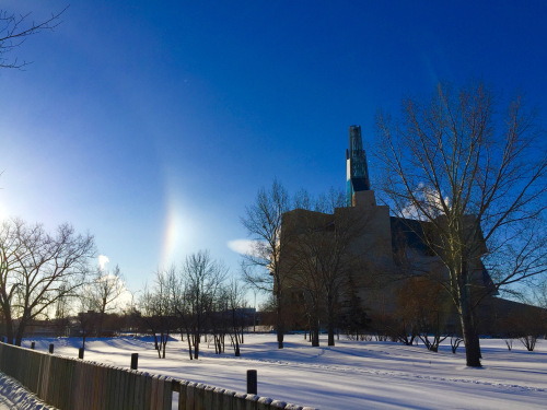 Sun Dogs on the Human Rights Museum in Winnipeg
