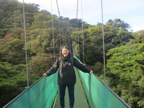 on suspension bridge monteverde