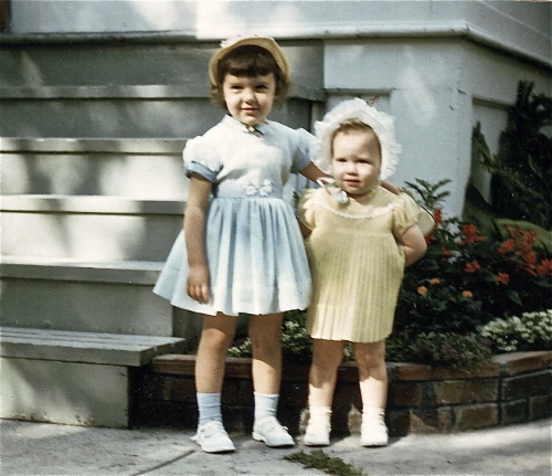 Easter 1956- My sister and I in our Easter bonnets