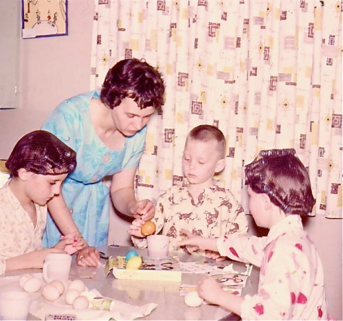 Easter 1961- Coloring Easter eggs with my siblings