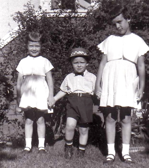 Easter 1960- Ready for church with my brother and sister