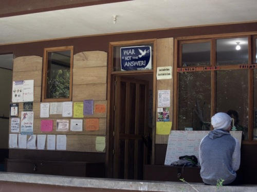 The sign over the door of the Friends School in Monteverde makes their peace position clear