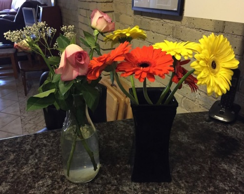 flowers from dinner guests