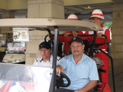 Dave golfing with his friend Jon on Hainan Island