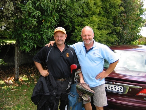 Dave with a golfing partner in New Zealand