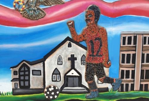 soceer player hugh john mural