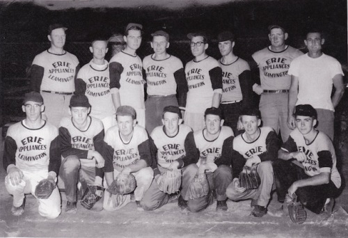 Dad on one of the ball teams he played for. He is on the far left in the back row.