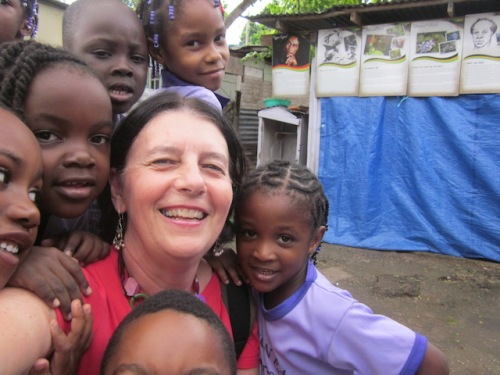 With children at a daycare in Jamaica