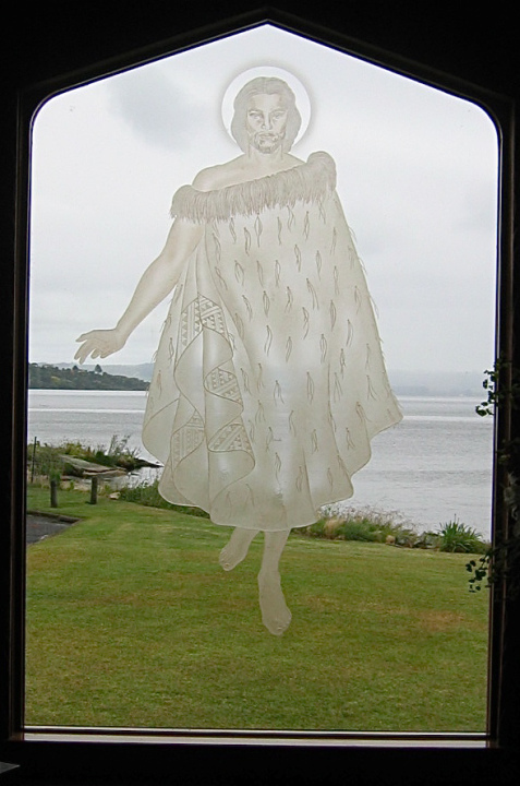 Maori Jesus in the window of the Faith Anglican Church in Rotorua , New Zealand