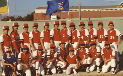 My husband Dave on the Manitoba fastball team at the national finals in New Brunswick in 1978. Dave is to the far right in the first row.