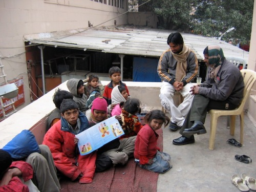 Roof top school for street children in Dehli India