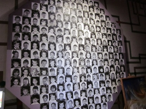 Faces of child victims at the Chernobyl Museum in Kiev Ukraine