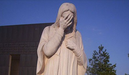 Statue of Jesus Weeping at St. Joseph's Church across the street from the Oklahoma City Bombing Memorial