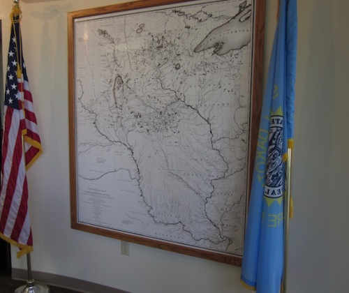 A copy of Nicolett's map is featured prominently in the interpretative centre