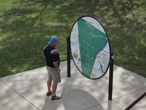 Dave checks out a map which shows the area we could see from the tower.