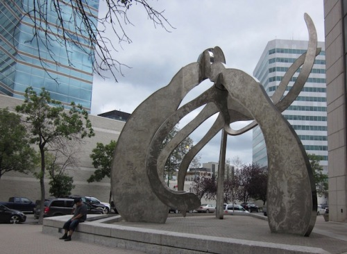 Justice- a sculpture outside the law courts building by artist Gordon Reeves